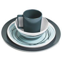 Campfire Melamine Dinner Set 16PC Teal Swirls